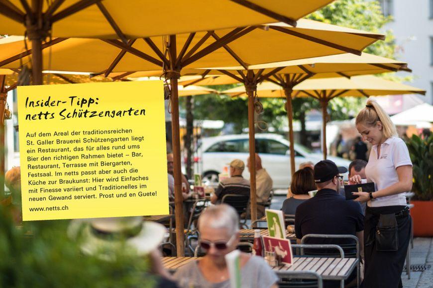 Auf dem Areal der traditionsreichen St. Galler Brauerei Schützen garten liegt ein Restaurant, das für alles rund ums Bier den richtigen Rahmen bietet – Bar, Restaurant, Terrasse mit Biergarten, Festsaal. Im netts passt aber auch die Küche zur Braukunst: Hier wird Einfaches mit Finesse variiert und Traditionelles im neuen Gewand serviert. Prost und en Guete!