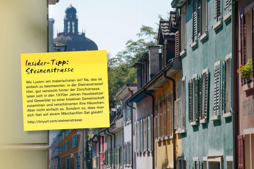 Wo Luzern am malerischsten ist? Na, das ist einfach zu beantworten: in der Steinenstrasse! Hier, gut versteckt hinter der Zürichstrasse, taten sich in den 1970er Jahren Hausbesitzer und Gewerbler zu einer kreativen Gemeinschaft zusammen und verschönerten ihre Häuschen. Aber nicht einfach so. Sondern so, dass man sich fast auf einem Märchenfilm-Set glaubt!
