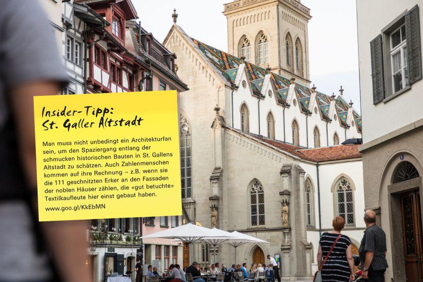 Man muss nicht unbedingt ein Architekturfan sein, um den Spaziergang entlang der schmucken historischen Bauten in St. Gallens Altstadt zu schätzen. Auch Zahlenmenschen kommen auf ihre Rechnung – z.B. wenn sie die 111 geschnitzten Erker an den Fassaden der noblen Häuser zählen, die «gut betuchte» Textilkaufleute hier einst gebaut haben.
