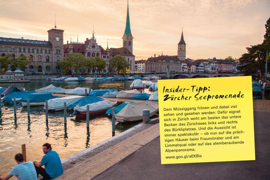 Insider-Tipp SVEB-Zertifikat Zürich: Zürcher Seepromenade – Dem Müssiggang frönen und dabei viel sehen und gesehen werden: Dafür eignet sich in Zürich wohl am besten das untere Becken das Zürichsees links und rechts des Bürkliplatzes. Und die Aussicht ist immer spektakulär – ob nun auf die prächtigen Häuser beim Fraumünster und am Limmatquai oder auf das atemberaubende Alpenpanorama.