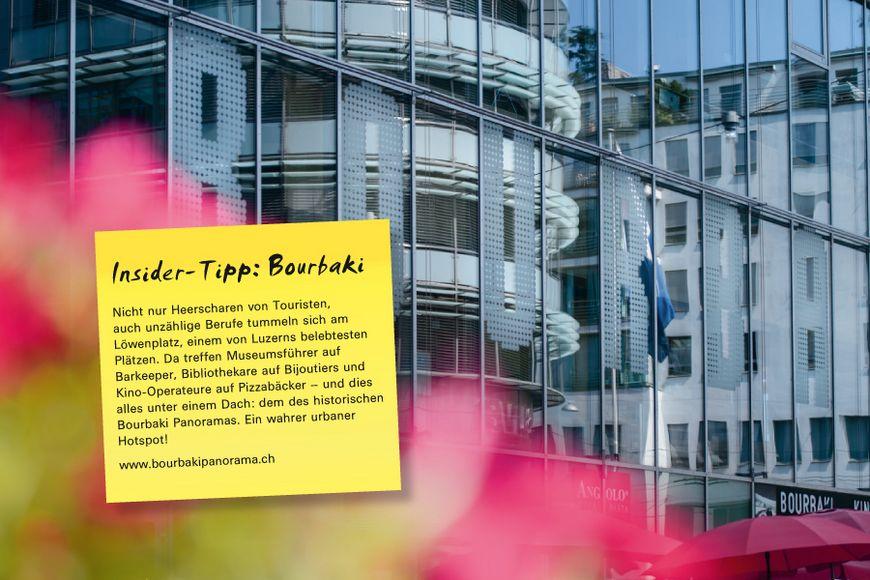 Nicht nur Heerscharen von Touristen, auch unzählige Berufe tummeln sich am Löwenplatz, einem von Luzerns belebtesten Plätzen. Da treffen Museumsführer auf Barkeeper, Bibliothekare auf Bijoutiers und Kino-Operateure auf Pizzabäcker – und dies alles unter einem Dach: dem des historischen Bourbaki Panoramas. Ein wahrer urbaner Hotspot!