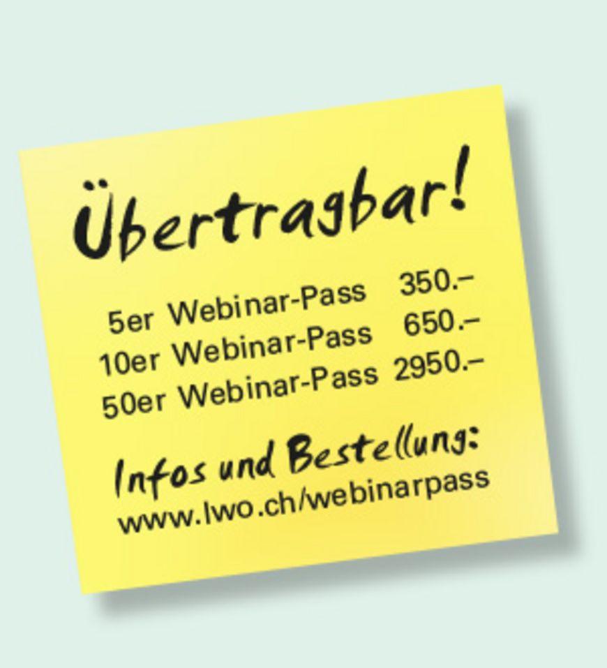 Übertragbarerer Webinar-Pass hier bestellen