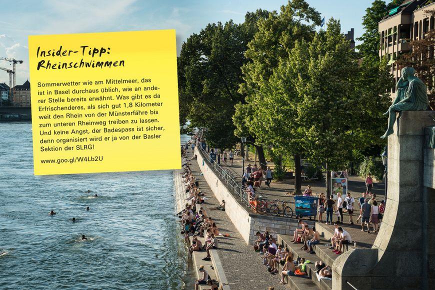 Sommerwetter wie am Mittelmeer, das ist in Basel durchaus üblich, wie an anderer Stelle bereits erwähnt. Was gibt es da Erfrischenderes, als sich gut 1,8 Kilometer weit den Rhein von der Münsterfähre bis zum unteren Rheinweg treiben zu lassen. Und keine Angst, der Badespass ist sicher, denn organisiert wird er ja von der Basler Sektion der SLRG!