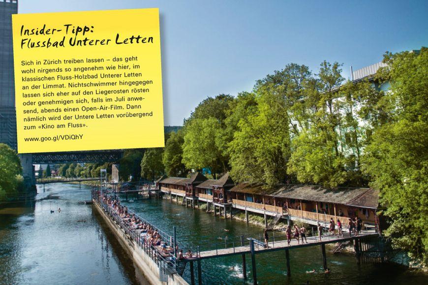 Insider-Tipp SVEB-Zertifikat Zürich: Flussbad Unterer Letten Sich in Zürich treiben lassen – das geht wohl nirgends so angenehm wie hier, im klassischen Fluss-Holzbad Unterer Letten an der Limmat. Nichtschwimmer hingegegen lassen sich eher auf den Liegerosten rösten oder genehmigen sich, falls im Juli anwesend, abends einen Open-Air-Film. Dann nämlich wird der Untere Letten vorübergend zum «Kino am Fluss»