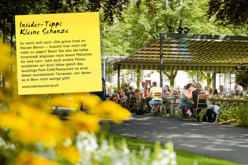 Es nennt sich auch «Die grüne Insel im Herzen Berns» – braucht man noch viel mehr zu sagen? Bevor Sie also die halbe Innenstadt abgrasen nach einem Plätzchen für eine Lern- oder auch andere Pause, empfehlen wir doch lieber gleich das lauschige Park-Café/Restaurant an einer dieser wunderbaren Terrassen, von denen es in Bern nicht wenige gibt!