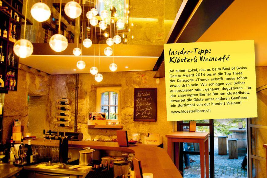 An einem Lokal, das es beim Best of Swiss Gastro Award 2014 bis in die Top Three der Kategorie «Trend» schafft, muss schon etwas dran sein. Wir schlagen vor: Selber ausprobieren oder, genauer, degustieren – in der angesagten Berner Bar am Klösterlistutz erwartet die Gäste unter anderen Genüssen ein Sortiment von gut hundert Weinen!