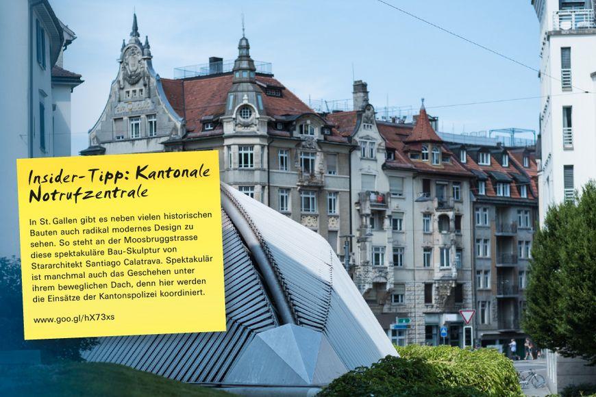 In St. Gallen gibt es neben vielen historischen Bauten auch radikal modernes Design zu sehen. So steht an der Moosbruggstrasse diese spektakuläre Bau-Skulptur von Stararchitekt Santiago Calatrava. Spektakulär ist manchmal auch das Geschehen unter ihrem beweglichen Dach, denn hier werden die Einsätze der Kantonspolizei koordiniert.