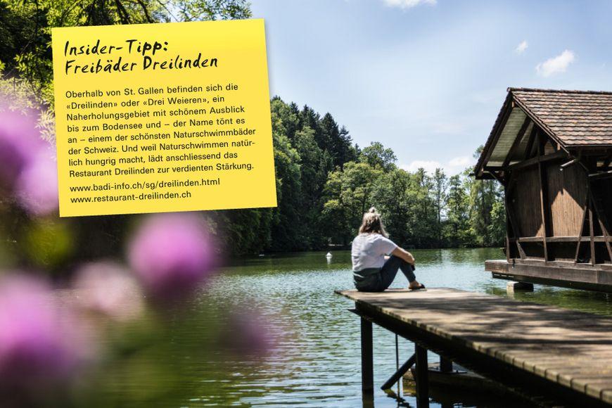 Oberhalb von St. Gallen befinden sich die «Dreilinden» oder «Drei Weieren», ein Naherholungsgebiet mit schönem Ausblick bis zum Bodensee und – der Name tönt es an – einem der schönsten Naturschwimmbäder der Schweiz. Und weil Naturschwimmen natürlich hungrig macht, lädt anschliessend das Restaurant Dreilinden zur verdienten Stärkung.