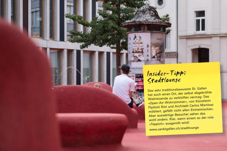Das sehr traditionsbewusste St. Gallen hat auch einen Ort, der selbst abgebrühte Weltreisende zu verblüffen vermag: Das «Open-Air-Wohnzimmer», von Künstlerin Pipilotti Rist und Architekt Carlos Martinez möbliert, gefällt nicht allen Einheimischen. Aber auswärtige Besucher sehen das wohl anders. Klar, wenn einem so der rote «Teppich» ausgerollt wird!